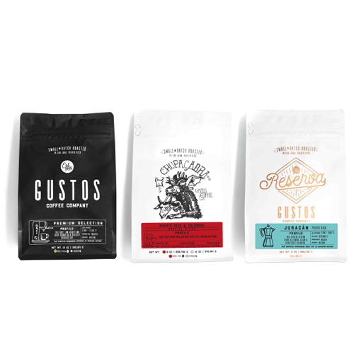 Gustos Coffee From Puerto Rico House Blend Trio Small Bags Specialty Coffee