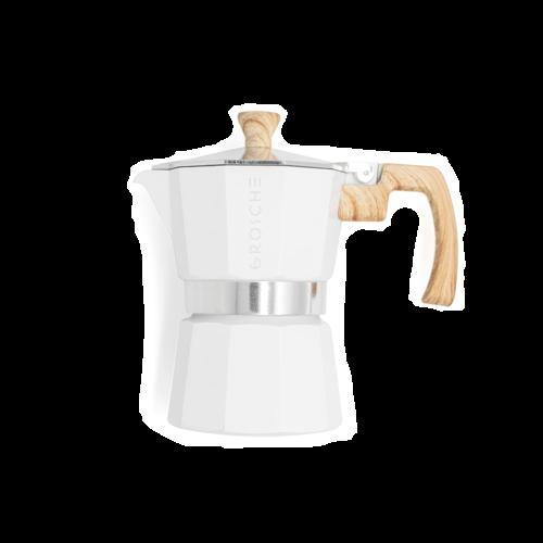 Greca de café espreso 3 tazas moka blanca