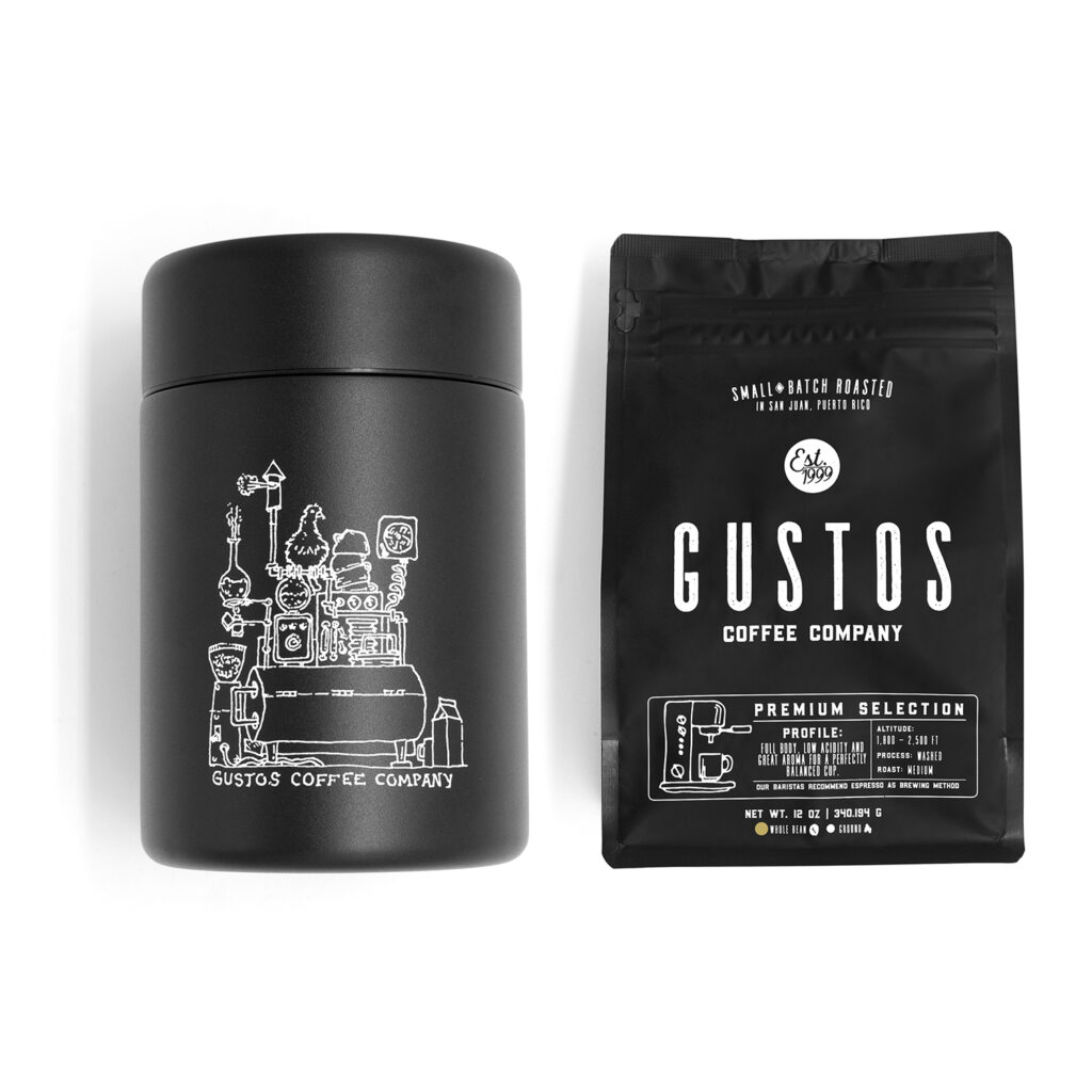 MIIR COFFEE CANISTER 12 OZ GUSTOS PREMIUM COFFEE FROM Puerto Rico GIFT SET
