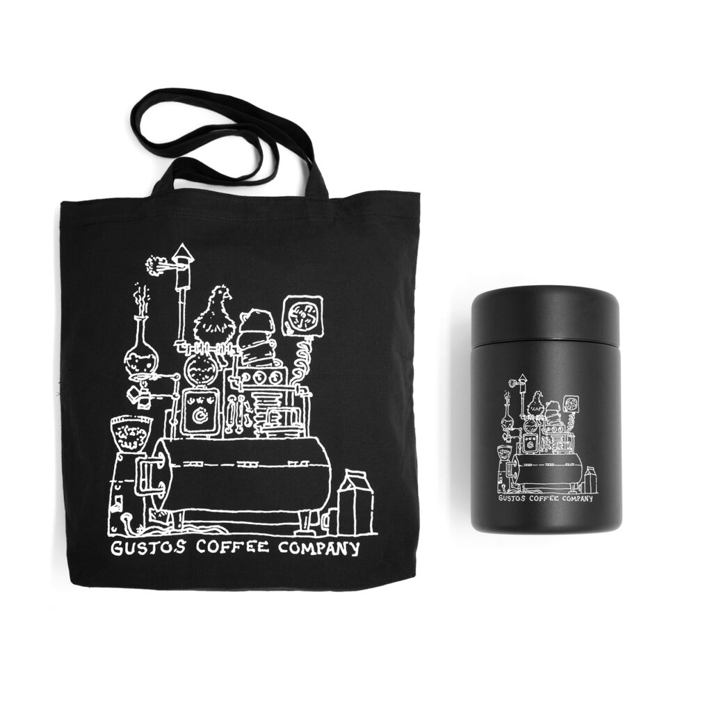 MiiR Coffee Canister 12 oz and Organic Cotton Wax Canvas Tote bag bundle gift from Puerto Rico