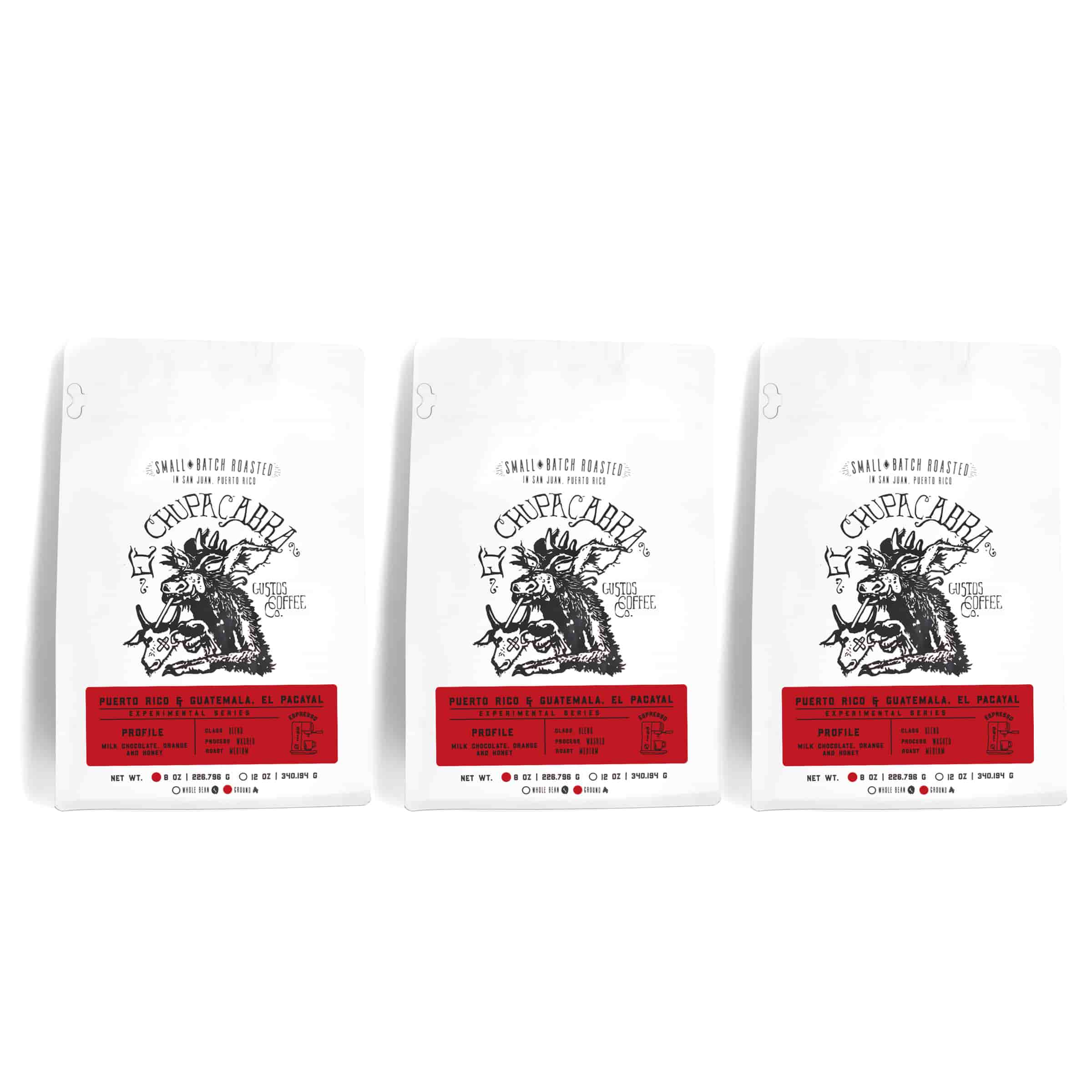 3-Pack El Chupacabra Puerto Rico - Guatemala El Pacayal Specialty blend Ground
