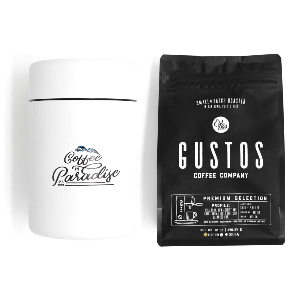 Puerto Rican Coffee Gustos Cafe PR Canister and coffee bundle