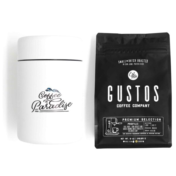 Puerto Rican Coffee Gustos Cafe PR Canister and coffee bundle ground
