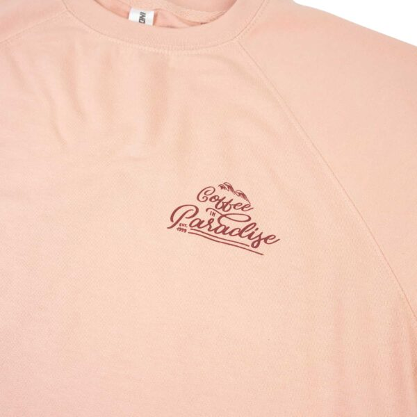 Gustos Coffee Long Sleeve Sweatshirt Rose Color Roasted in Paradise Puerto Rico (front)