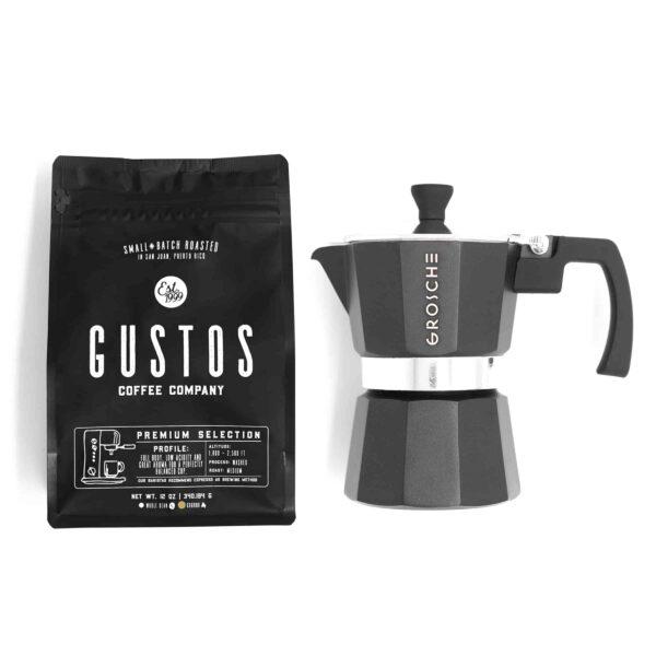 Grosche Milano 3 Cup Moka Pot Black Gustos Coffee Puerto Rico