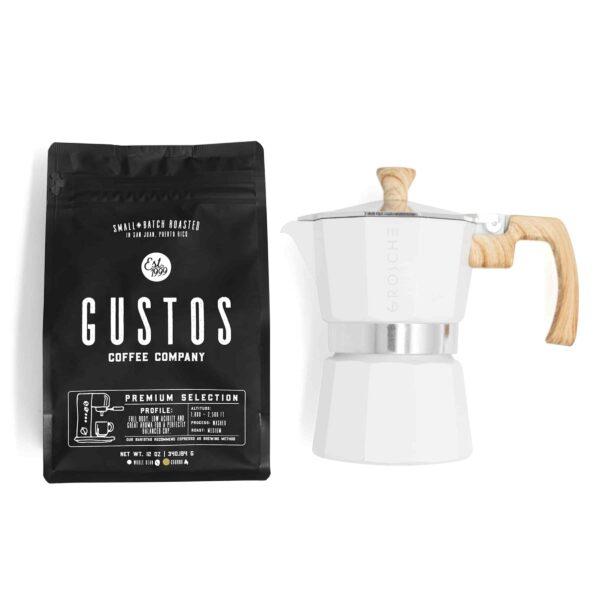 Grosche Milano 3 Cup Moka Pot White Wood Handle Gustos Coffee Puerto Rico