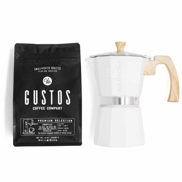 Grosche Milano 6 Cup Moka Pot White Wood Handle Gustos Coffee Puerto Rico